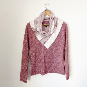 For Cynthia Lace Detail Cowl Neck Sweatshirt Small